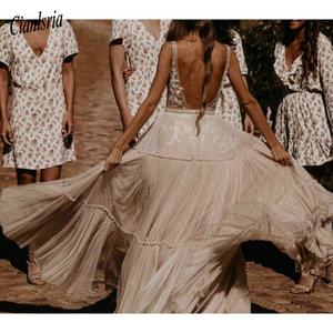 Image 3 - Nude suknie ślubne w kolorze szampańskim 2020 głęboki dekolt w serek czechy głęboki dekolt kapryśny Boho marzycielski suknie ślubne plaża Vestido De Noiva