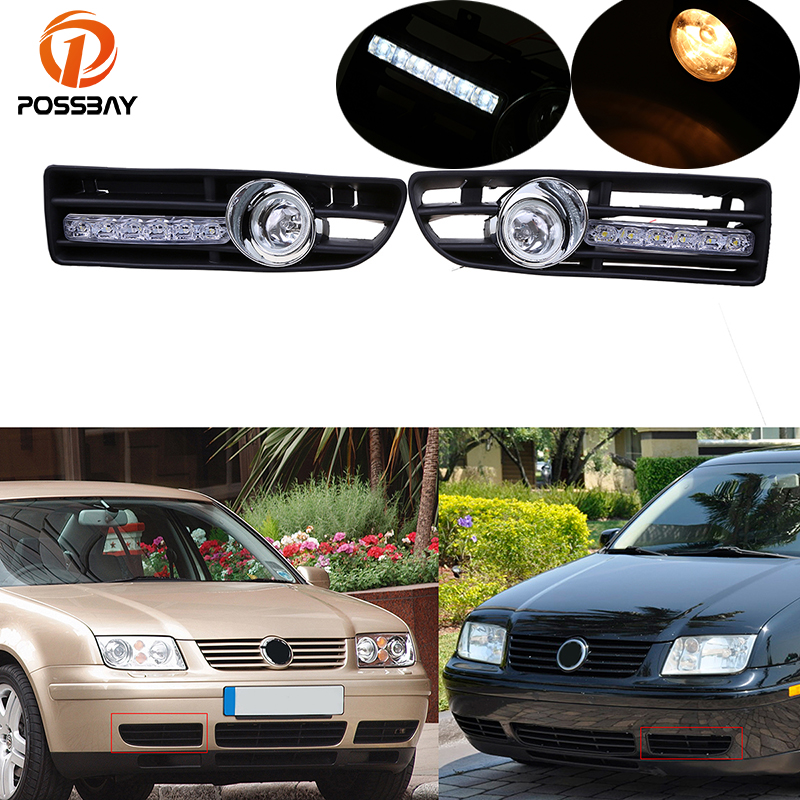 цена на POSSBAY Fog Lights for VW Bora Jetta MK4 1999 2000 2001 2002 2003 2004 2005 2006 2007 Front Lower Bumper LED/Halogen Foglamps