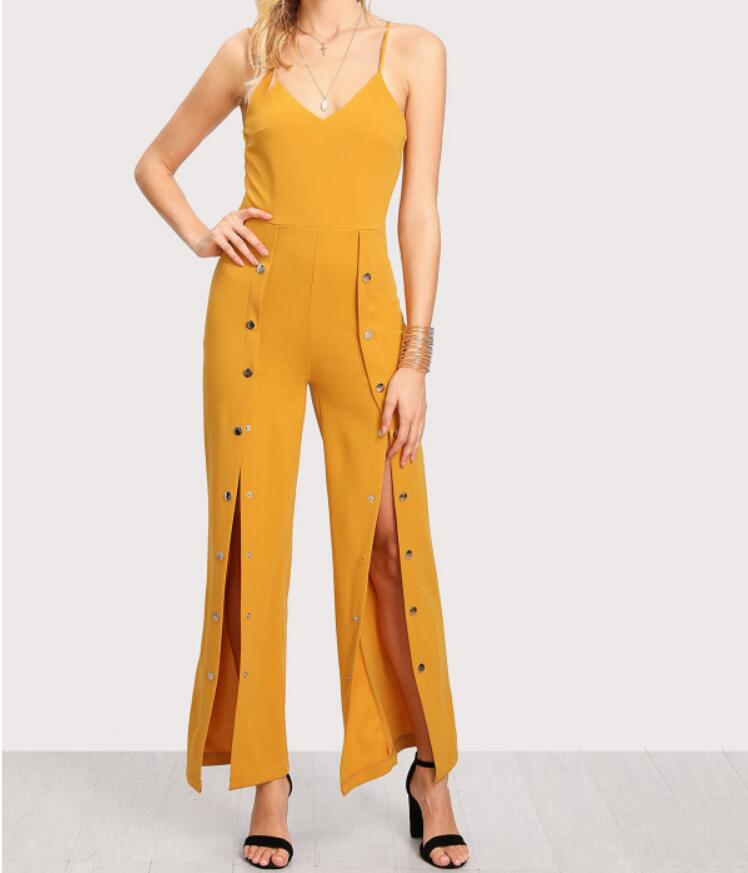 Button wide leg slips Jumpsuits for women jumpsuit Sexy V Neck Strapless Overalls Bodycon Tunic Jumpsuits Elegant overalls