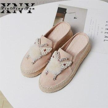 Platform Sandals Summer Sippers Kid Suede Bead Butterfly Fur Shoes Women Fuzzy Slides Rhinestone Ladies Autumn Beige Shoes Woman