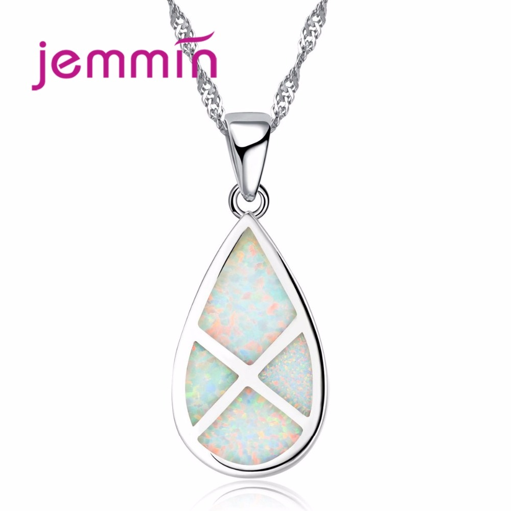 Jemmin Hot Opal Necklaces 925 Silver Water Drop Pendant Necklace Opal Exquisite Beautiful Women Necklace Jewelry