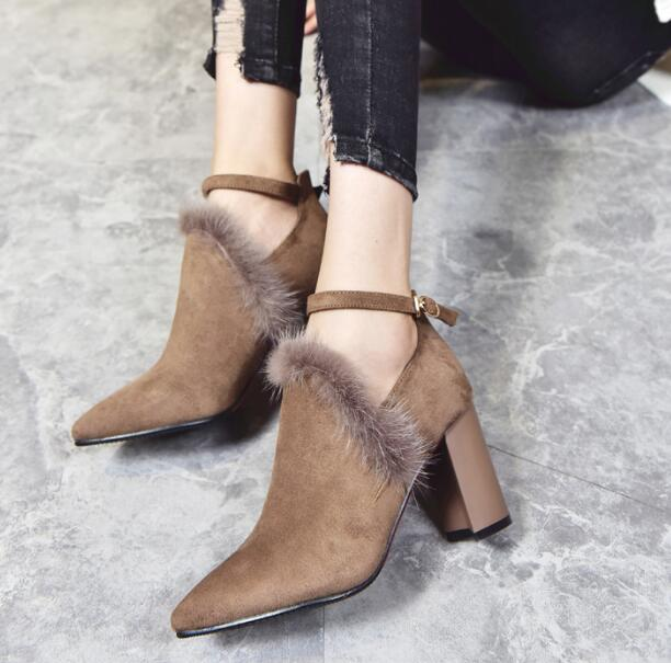 ФОТО Spring fashion sexy high heel high square heels pointed toe ankle strap fur decoration women flock solid casual shoes black