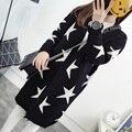 Cardigans outono Estrelas Padrão de Impressão Moda Casual Mulheres Blusas Longas Soltas Cardigans De Malha Quentes Manga Longa Outwears Quentes