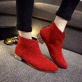 Mujeres libres del envío forman dedo del pie puntiagudo botas Scrub rebaño botines Martin botas con el Rhinestone tamaño 35 ~ 39