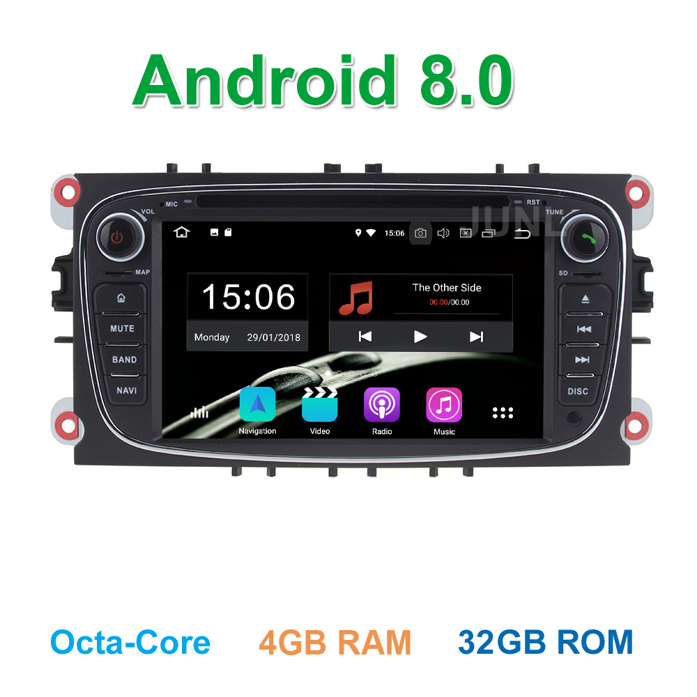 4GB RAM Android 8.0 Car DVD Player for Ford Mondeo Focus S C Max Galaxy Kuga with BT Wifi Radio