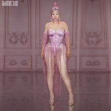 Pink print rhinestone fringed onesie nightclub bar concert DJ singer/dancer costume