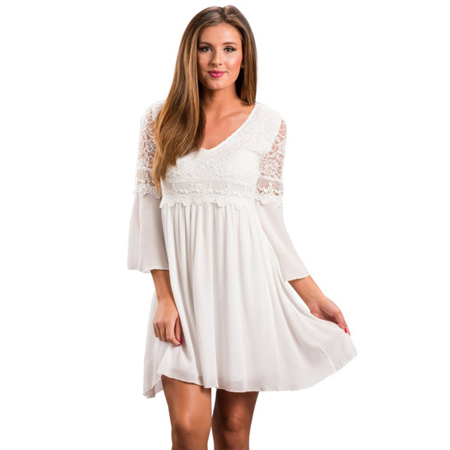 55a35ae253 Women Lace Stitching Flowy Dress Elegant Casual V Neck Loose Bohemian Style  Swing Party Dress Flare Sleeves Ladies Mini Vestido