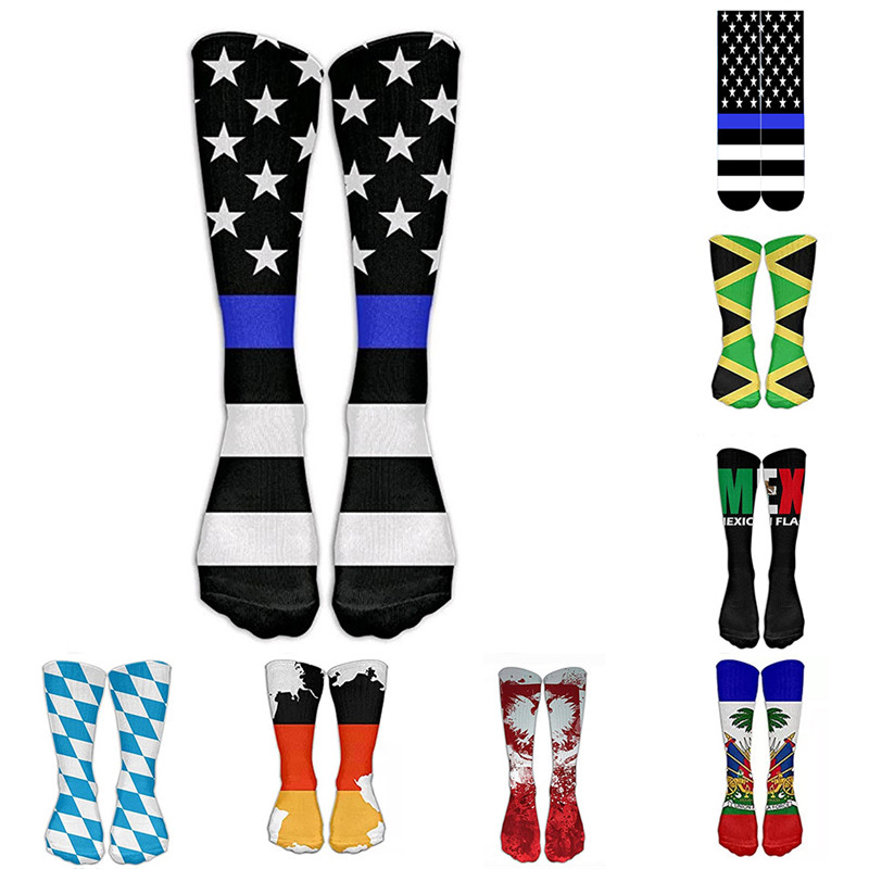 New Fashion Maple Leaf Flag Print Socks Striped Cotton Weed Socks Calcetines Arte Chaussettes Pour Hommes Funny Meia 6D6