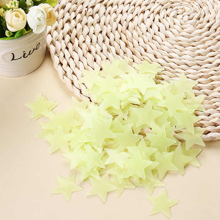 100pcs 3D fluorescent ceiling stars  wall stickers home decoration stickers wallpaper decoration special festival glow in dark