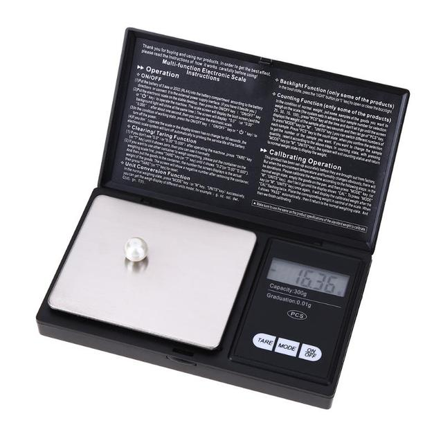LED Scale 300g x 0.01g 500g x 0.1g LED Luminous Pocket Electronic Scale High Precision Jewelry Gold Gram Weight Scale Balance