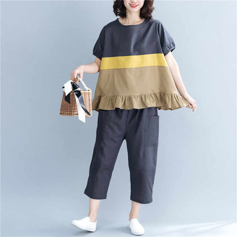 Johnature 2019 Summer New Casual Two Pieces Sets Women Patchwork Colors Ruffles Loose Tops Elastic Waist Women Pants Sets