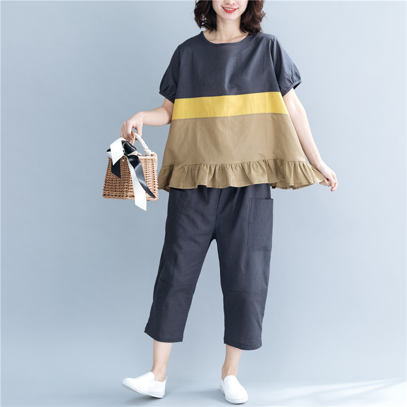 Johnature 2020 Summer New Casual Two Pieces Sets Women Patchwork Colors Ruffles Loose Tops Elastic Waist Women Pants Sets