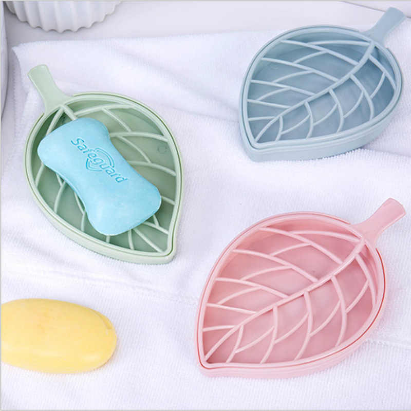 Nordic Color Leaf Shape Soap Box Shower Plate Hiking Bathroom Home Case Container Travel Storage Holder Dish