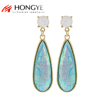 2018 Newest Long Earring Fashion Shiny Gold-Color Long Charms Laser Resin Beads Pendant Statement Trendy Drop Earrings Jewelry