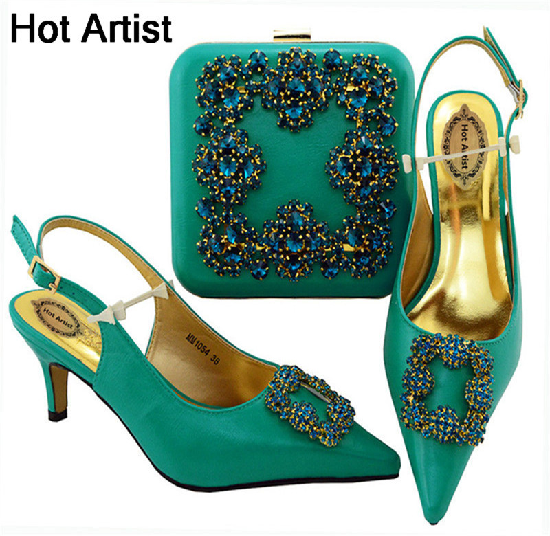 Hot Artist New Arrival Rhinestone Party Shoes And Purse Set African Style Woman High Heels Shoes And Bag For Wedding MM1054 hot artist new arrival italian style rhinestone woman shoes and bag set african high heels shoes and bag purse for party dress