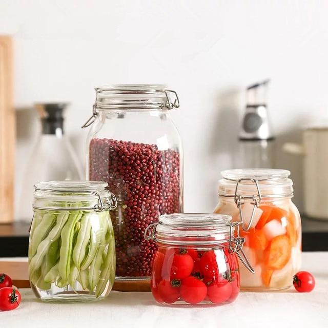 1PCS Transparent Glass Jars Seal Jars Grains Storage Bottles Spice Lemon Honey Jar Kitchen Storage Cans & 1PCS Transparent Glass Jars Seal Jars Grains Storage Bottles Spice ...