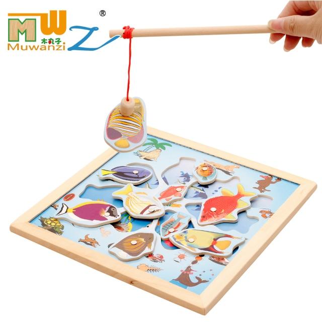 Mwz 27 5 27 5 1 Cm Juguete Pesca Magnetica Ninos De Madera Deportes