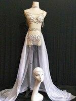 Женское боди с серебряными блестками и кристаллами, белое перспективное Сетчатое детское платье с пышной юбкой для ночного клуба, бар, Женс