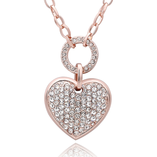 Top Quality Big Heart Pendant Long Necklace For Women Rose Gold Color Romantic Fashion Jewelry Y8M016
