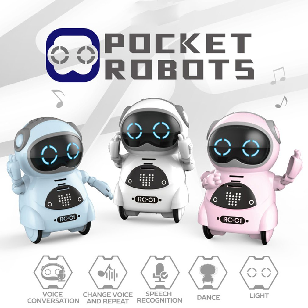 Mini Pocket Robot Talking Walk Music Dance Light Voice Recognition Interactive Smart Kids Robot Model Toy Birthday Gift 3 Color