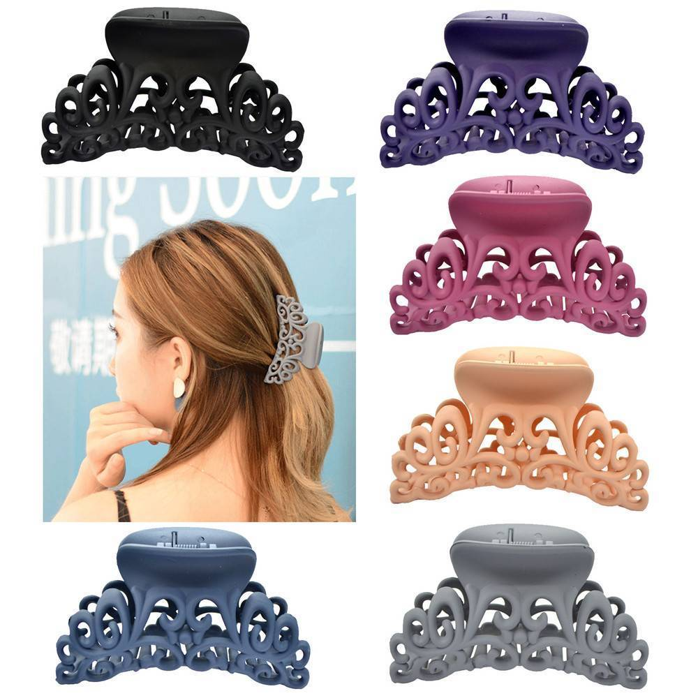 New Arrival Hairdress For Women Scrub Black Plastic Hair Claw Clips Hollow Out Carving Crab For Hair Large Size Hair Clamps