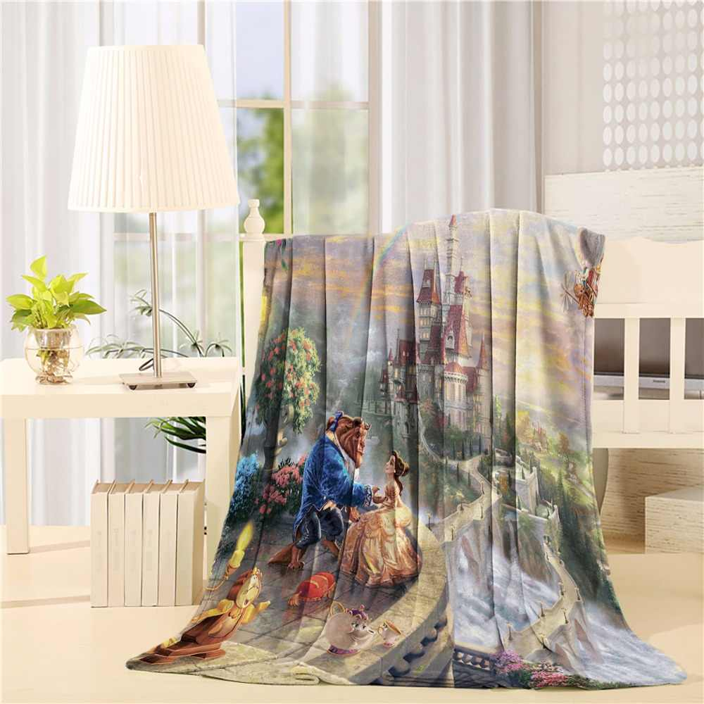 Beauty and the Beast  Flannel Throw Blanket Lightweight Cozy Bed Sofa Blankets Super Soft Fabric
