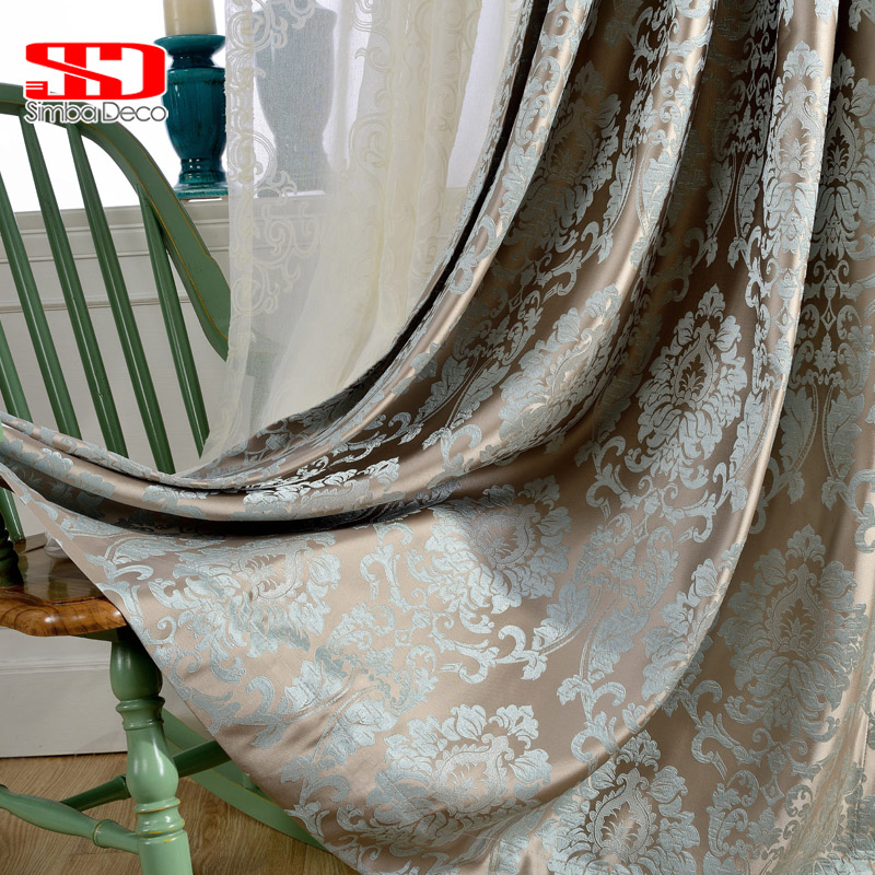 European damask jacquard curtains for living room blue shiny drapes for bedroom custom size window panels shade 70% blinds ivory
