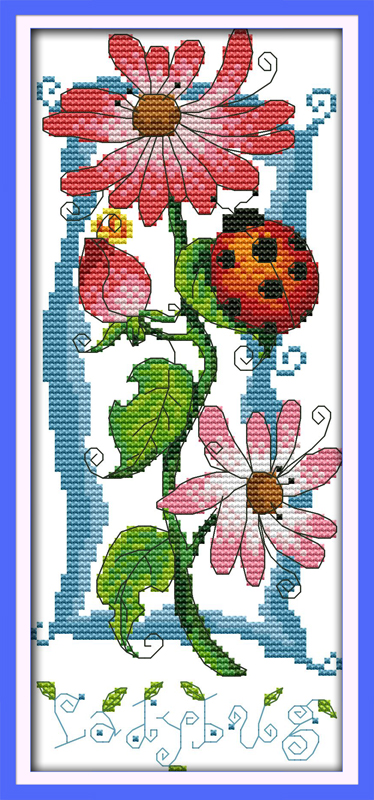 Sound of flowers (3)Cotton Animal cross stitch kits 14ct white 11ct printed embroidery DIY handmade needle work wall home decor