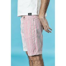 Men's casual vertical striped knee length shorts