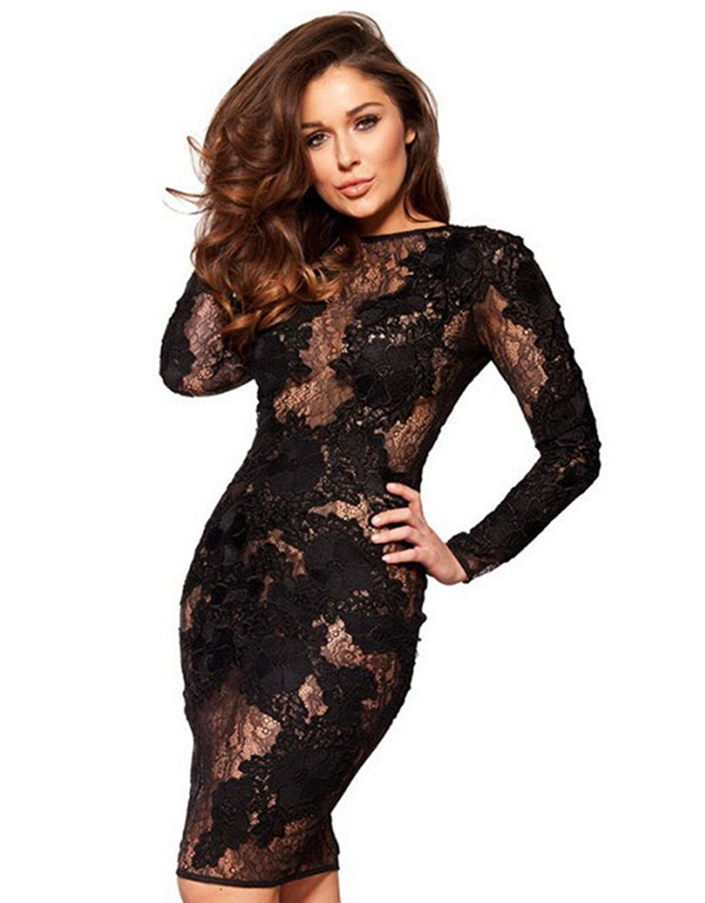 2018 Sexy See Through Club Dress Long Sleeve Embroidered Elegant