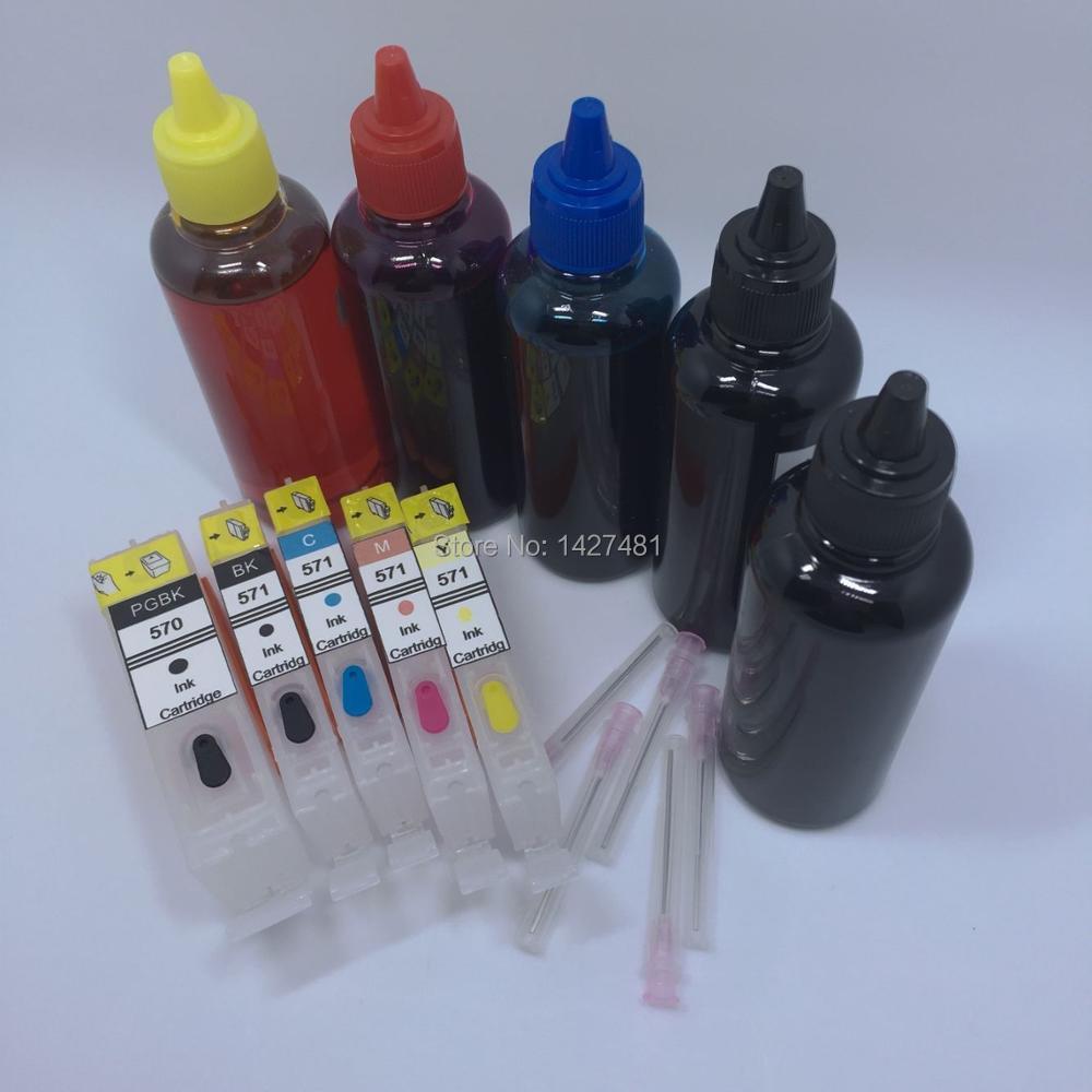 YOTAT 5*100 ml Dye inkt + Hervulbare PGI570 inkt cartridge PGI 570 CLI 571 voor Canon PIXMA MG5750 MG5751 MG5752 MG5753 MG6850-in Inktpatronen van Computer & Kantoor op AliExpress - 11.11_Dubbel 11Vrijgezellendag 1