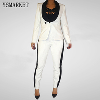 White Work Wear Fashion Women S Clothes Slim Long Sleeve Blazer With Pants Office Ladies Formal