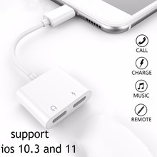 Double For Lightning Jack Charging Audio Adapter for iPhone 7 8 X Support for IOS 11 Music Call Headphone Adapter Converter double jack audio adapter for iphone 7 8 x xs xr support ios 12 charging music or call for lightning headphone adapter converter