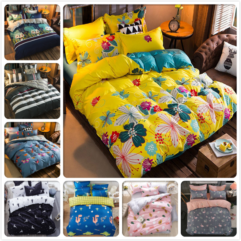 Yellow Blue AB Side Flower Floral Chrysanthemum Duvet Cover 1.5m 1.8m 2m Bed Sheet Child Kids 4pcs Bedding Set King Queen Double