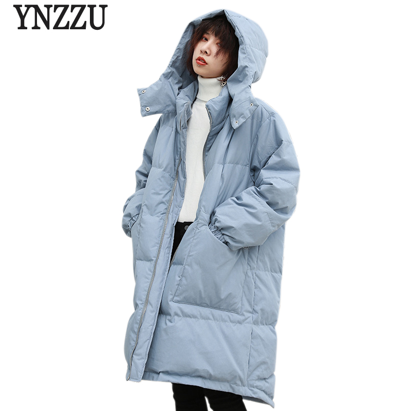 YNZZU New Winter Women's   Down   Jacket Korean Casual Long Style White Duck   Down     Coat   Woman Thicken Warm Hooded Female Jacket YO735