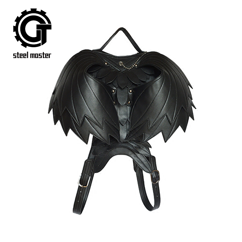 Wing Punk Leather Backpack Women Dark Fashion Bags Men Black Ghost Monster Retro Shoulders Bag Gothic Cool 3D Backpacks Bags