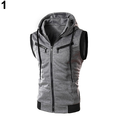 2017 New Men's Fashion S Drawstring Hooded Zipper Slim Fit Vest Waistcoat Outerwear