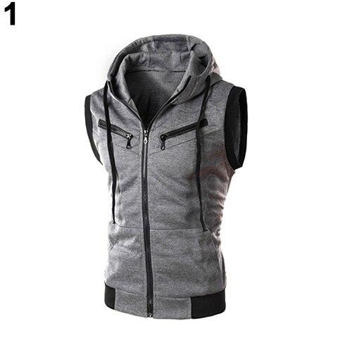 New Men's Fashion S Drawstring Hooded Zipper Slim Fit Vest Waistcoat Outerwear
