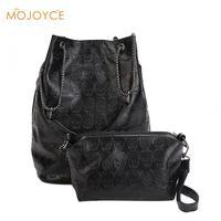 Vintage Skull Shoulder Bags Composite Bags Women Bucket PU Leather Female Black Handbags Ladies Casual Chain