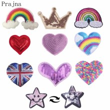 Prajna LOVE Heart Sewing On Reversible Patches For Clothes Cartoon Sequin Transfers Patch Accessory Kids Clothing Decor E