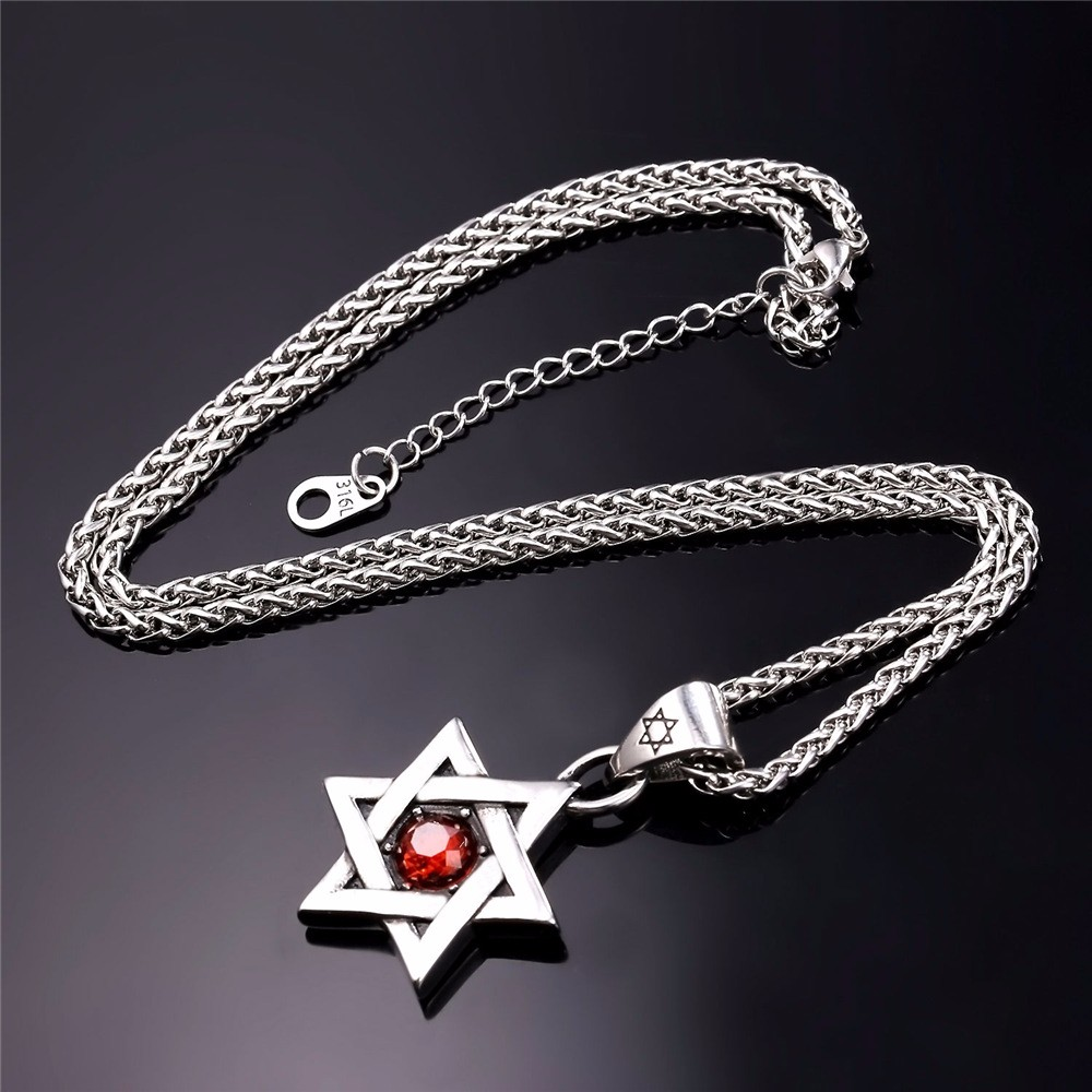 HTB1.aCPJVXXXXcsXXXXq6xXFXXXK - Star of David Pendant with Red Stone