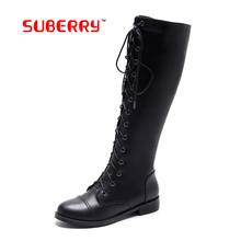 SUBERRY 2016 Autumn Winter Ladies Fashion Flat Bottom Boots Knee High Boots Black White Lace Up Long Brand Boots For Women Shoes