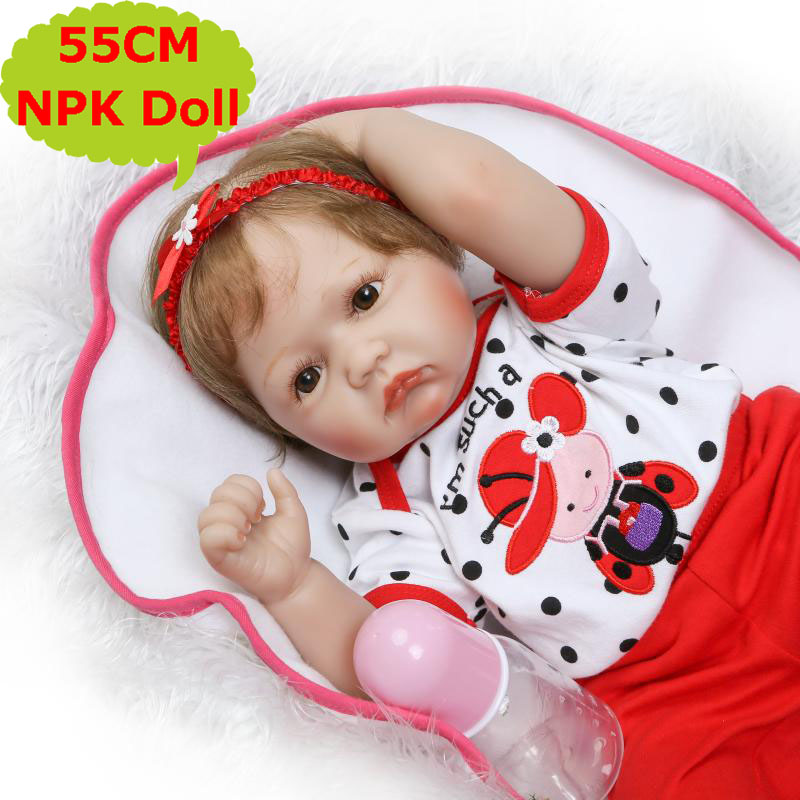 NPK New Update 55CM Baby Reborn Doll Soft Silicone Reborn Bebe Alive Toys In Cute 22