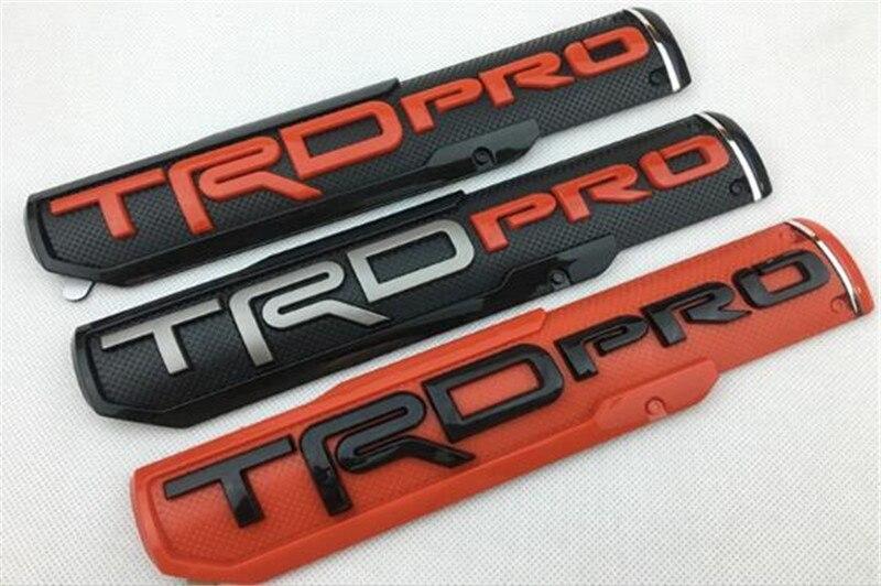 Badge de côté en plastique ABS   Autocollant de style de voiture, 25*5cm, argent noir rouge ABS, emblème adapté à Tundra TRD PRO, nouvelle collection 40 pièces