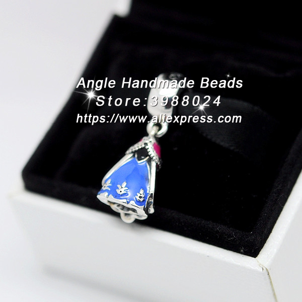 Fashion S925 Sterling Silver Beads Anna's Dress With Enamel Dangle Pendant Charms Fit European Bracelets Necklace Jewelry Making