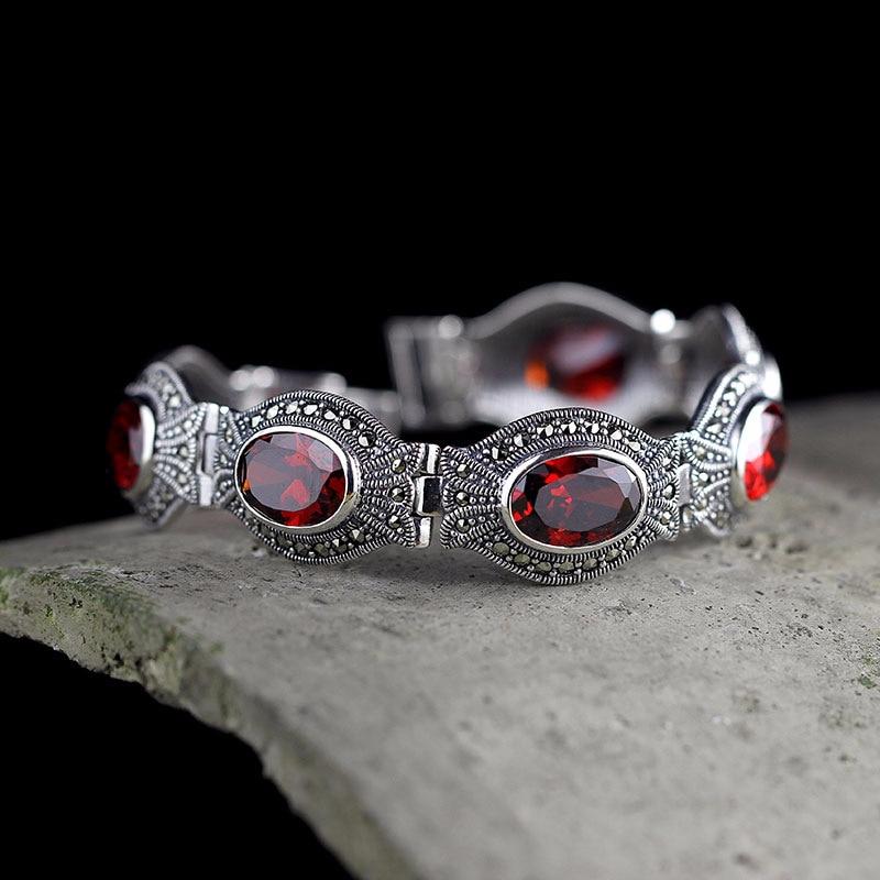 Hot Sale Real Red Garnet Silver Bracelet Handmade Lady's S925 Pure Silver Bracelet Classic Thai Silver Beautiful Bracelets