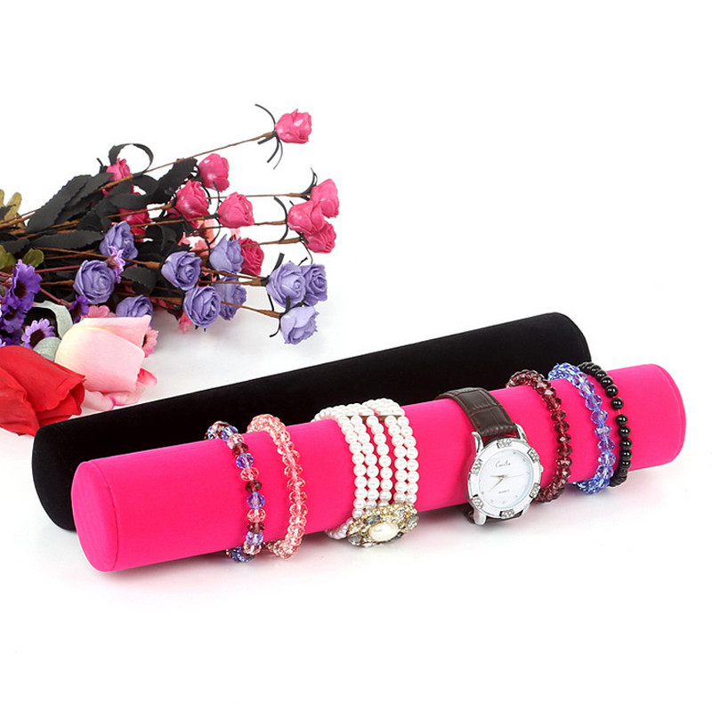 Promotion Packaging Jewelry Display Props Grey/Black/Rose Red Velvet Bracelet Bangle Watch Chain Ankle Holder Roll Organizer Bar
