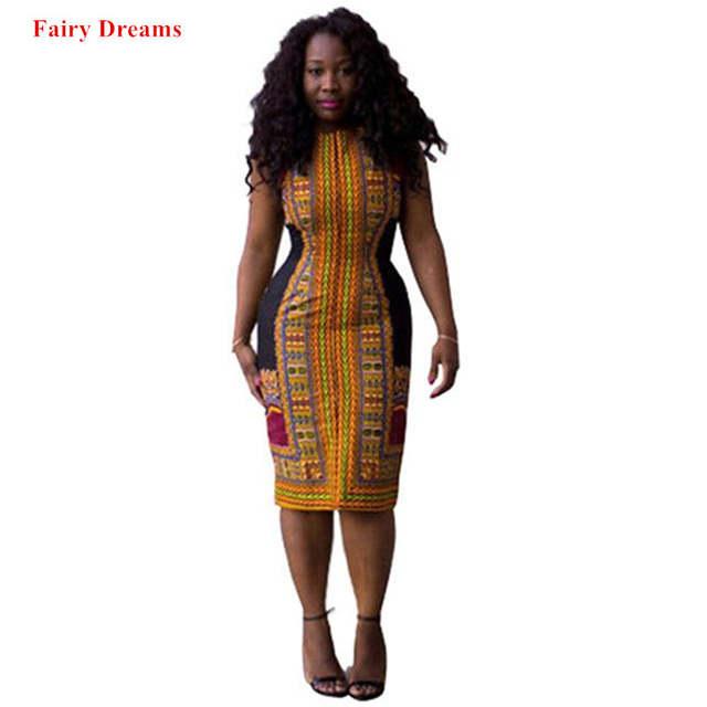 c4ce8b9991f7 Africano Dashiki Vestidos Para Mulheres 2018 Verão Plus Size Elástico  Vestido Bodycon Senhoras Tradicionais Roupas De