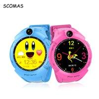 SCOMAS SOS GPS de Seguimiento Para Niños Relojes con Pantalla Táctil Inteligente Tarjeta SIM Llamada de Teléfono Rusia Smartwatche Reloj Para El Bebé niños