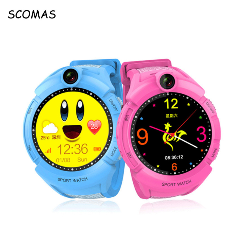 SCOMAS Smart GPS Tracking Childrens Watches with Touch Screen SOS Phone Call SIM Card Russia Smartwatche Clock For Baby Kids